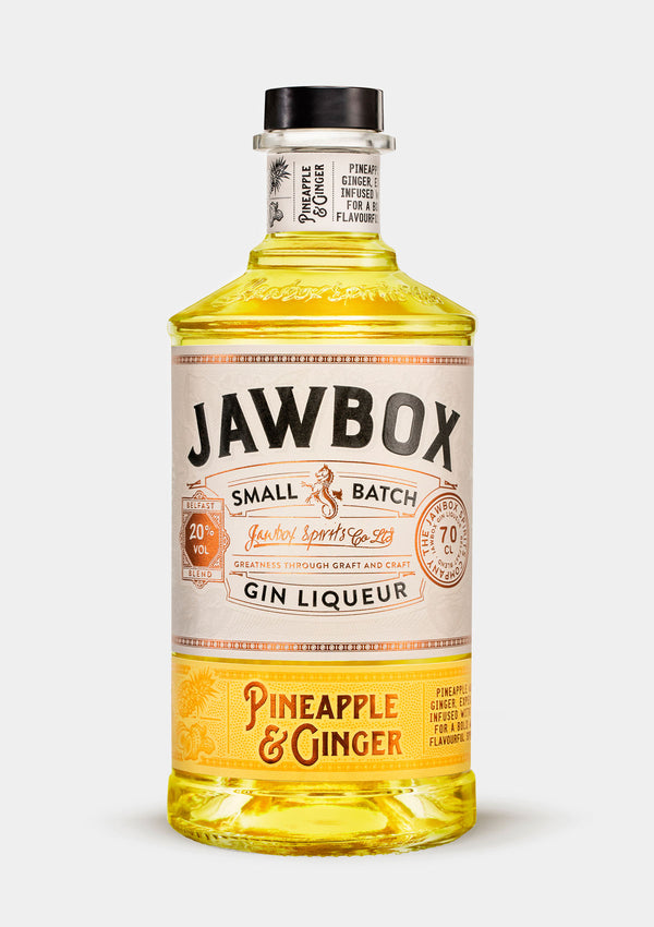 Jawbox Pineapple & Ginger Gin Liqueur | JMJ Imports | Premium Irish Gins, Whiskeys, Liqueurs & Mixers now available in Australia.