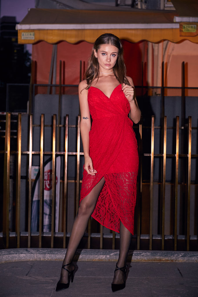 Red lace strapless cocktail dress for New Year's Eve party