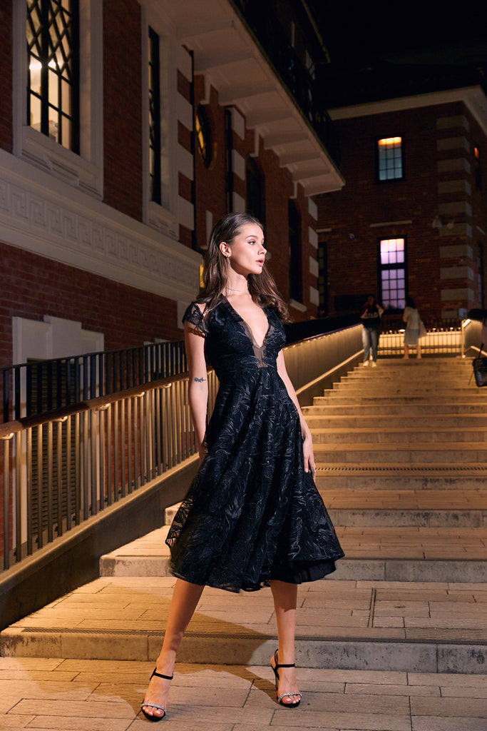 64b514edb4c4 Stunning black cocktail dress with sequin embroidery - a perfect choice for New  Years Eve celebrations