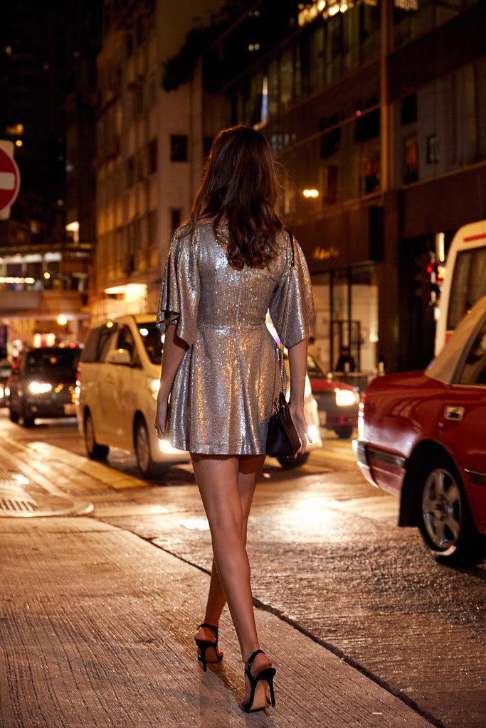 Silver sequin mini dress for New Year's Eve party