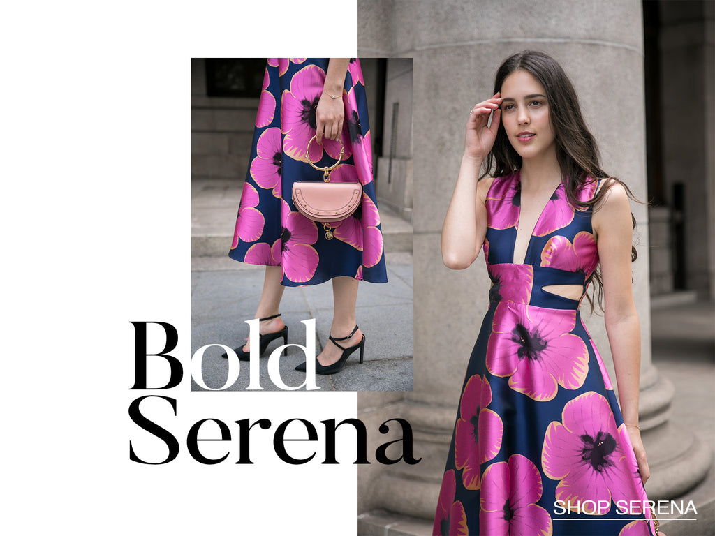 Serena bold floral wedding guest dress