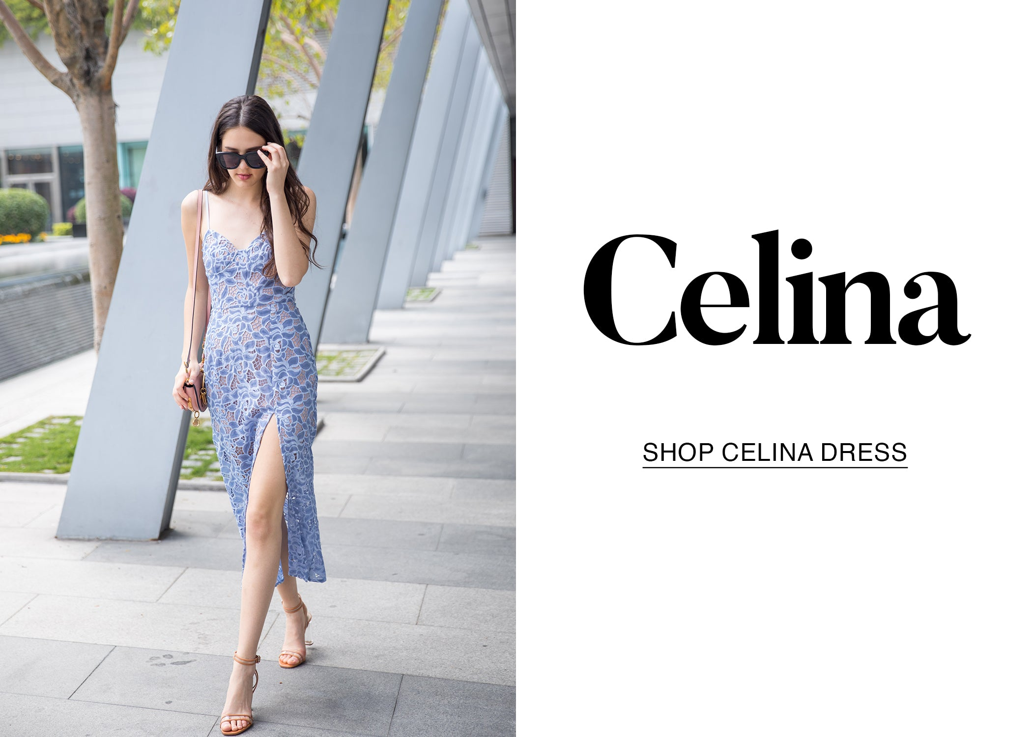 Celina Blue Lace Bustier Cocktail Dress