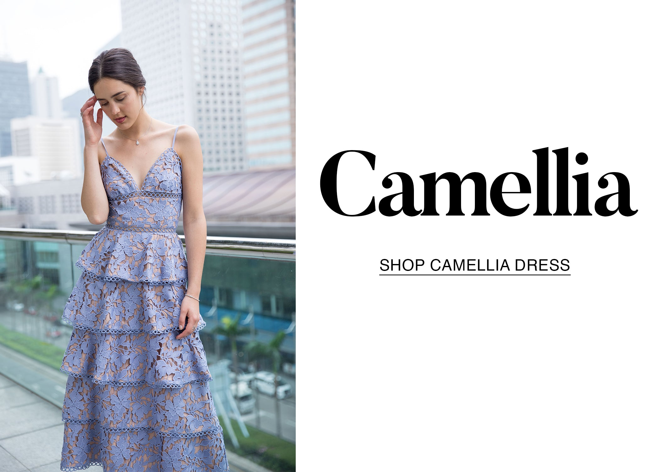Camellia Tiered Guipure Lace Dress