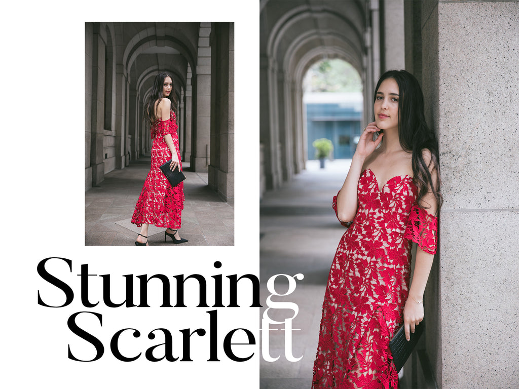 Red lace off-the-shoulder wedding guest dress