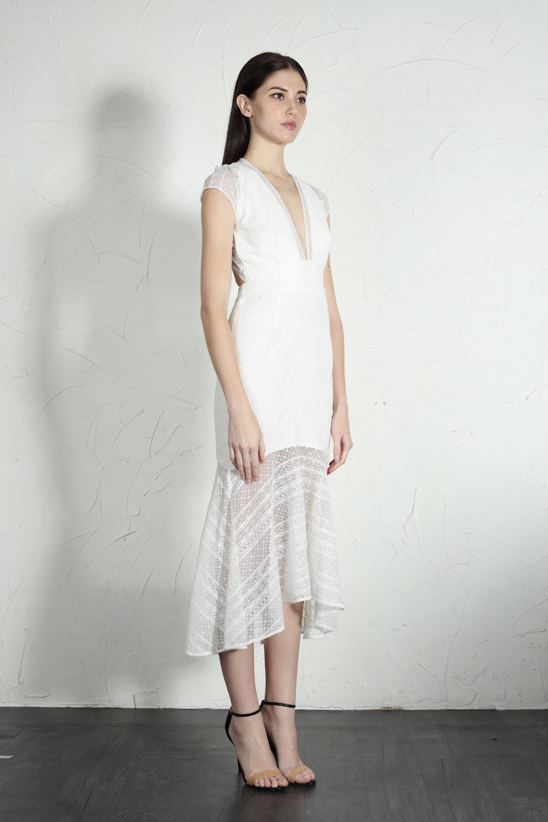Simone Dress (White) - SAU LEE