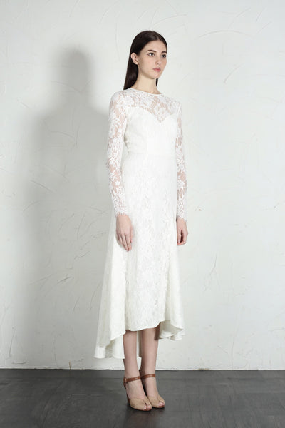 Sloane Long Sleeve Lace Midi Dress (White) - SAU LEE