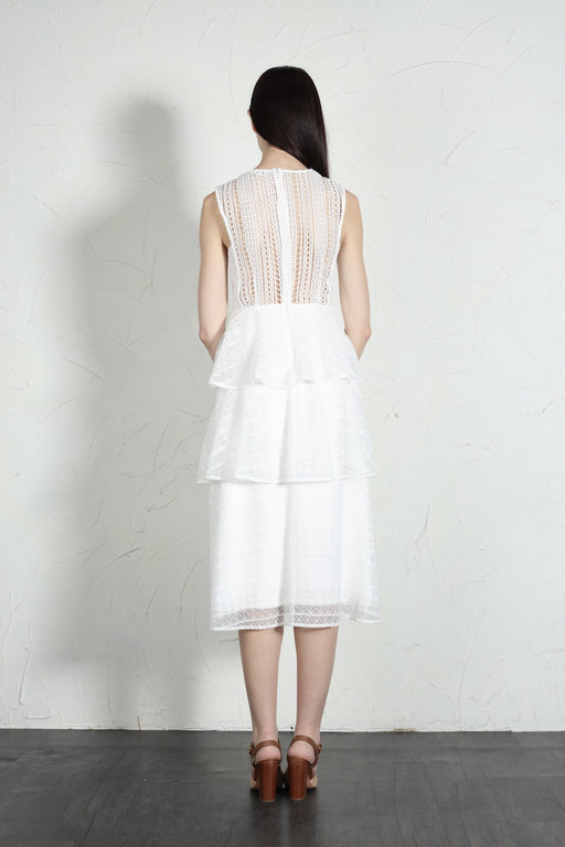 Camille Plunging Neck Tiered Dress (White) - SAU LEE