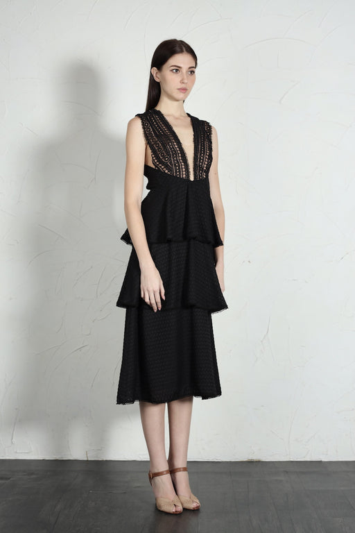 Camille Plunging Neck Tiered Dress (Black) - SAU LEE