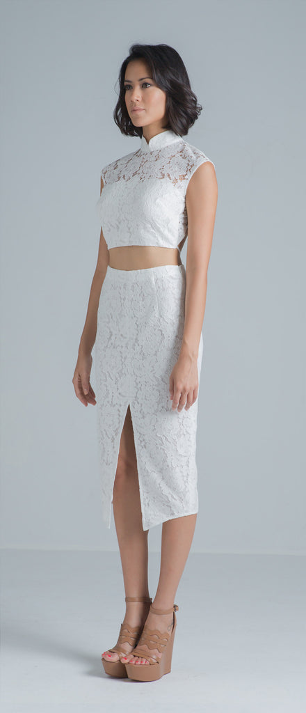 Zoe Backless Crop Top (White)