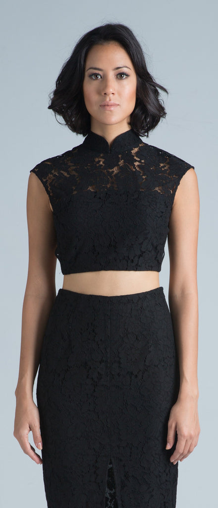 Zoe Backless Crop Top (Black)