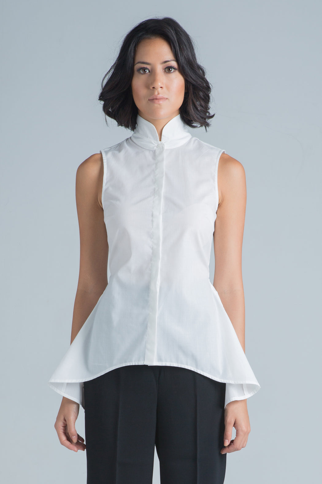 Isla Sleeveless Shirt (White) - SAU LEE