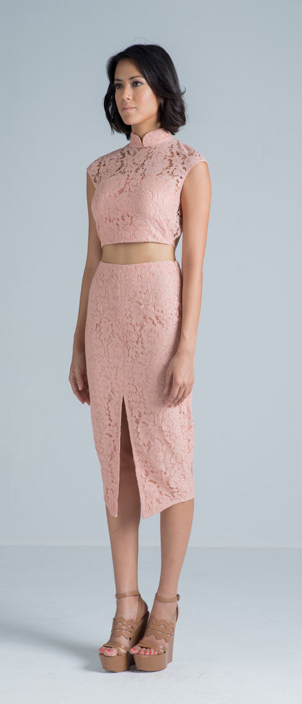 Zoe Lace Skirt (Pale Pink)