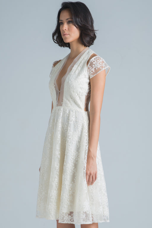 Aaliyah Embroidered Lace Backless Dress