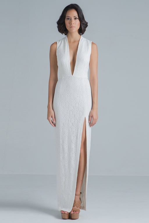Giselle Plunging Neck High Slit Lace Gown (white)