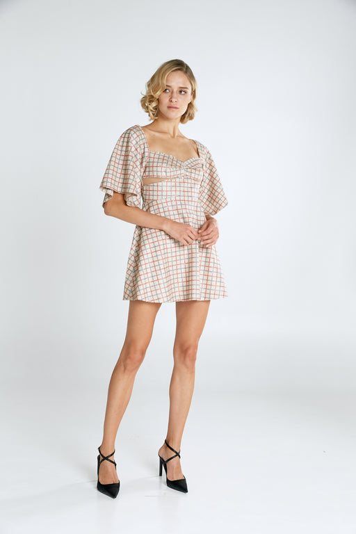 Farrah Checkered Sequin Mini Dress - SAU LEE