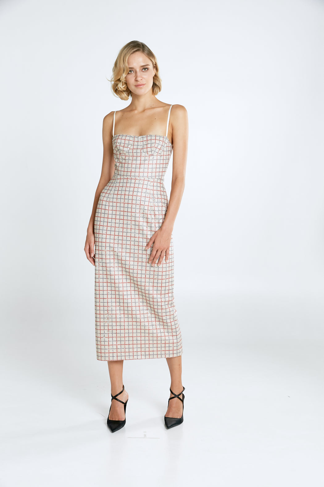Jacqueline Checkered Sequin Midi Dress - SAU LEE