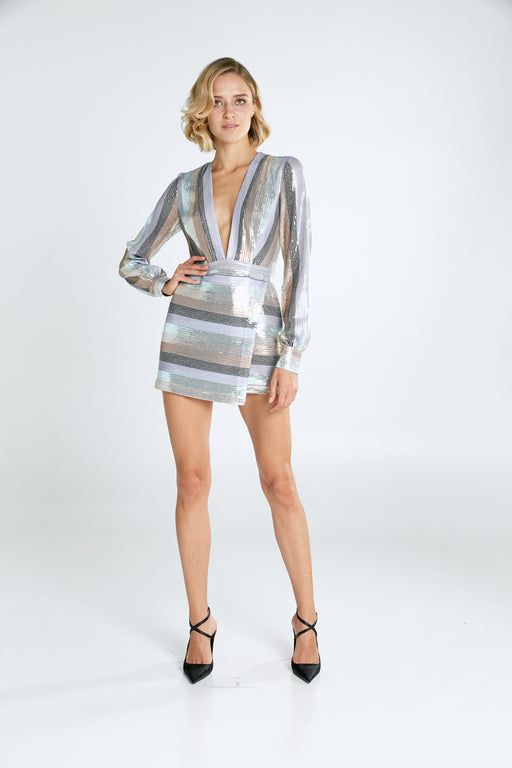 Sienna Striped Sequin Mini Dress - SAU LEE
