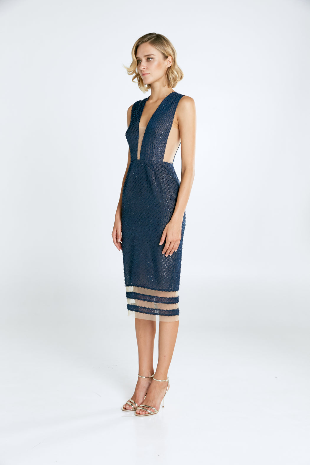 Kendall Chiffon Dress (Navy) - SAU LEE