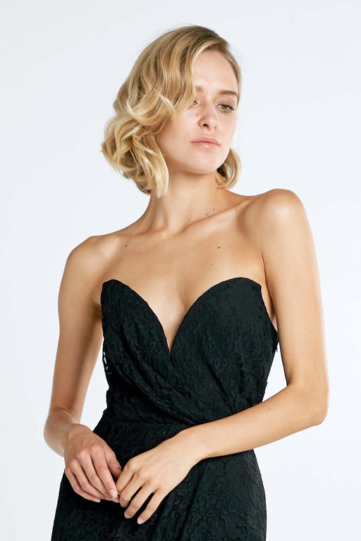 Jerri Strapless Draped Lace Dress (Black) - SAU LEE