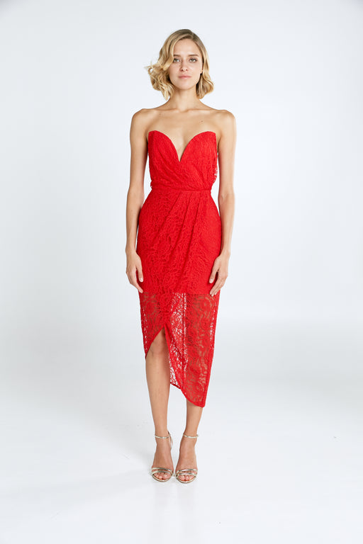 Jerri Strapless Draped Lace Dress (Red) - SAU LEE