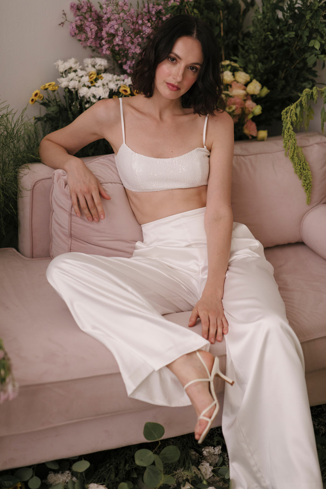 Grace Sequin Crop Top (White)