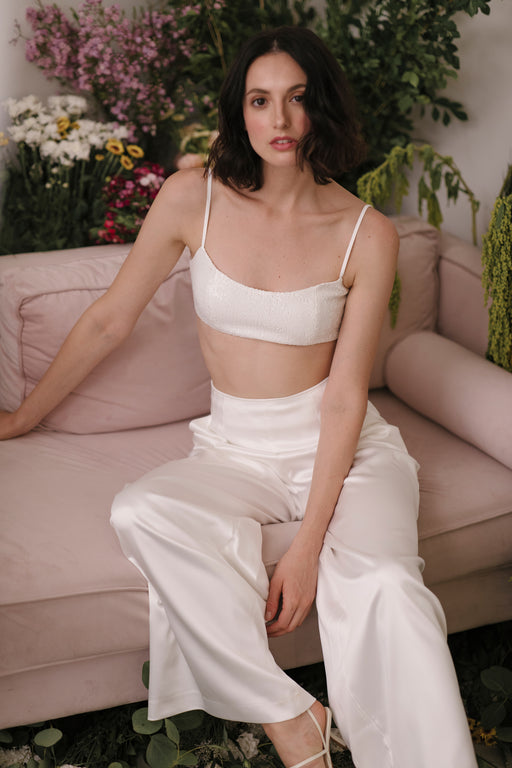 Elsie Satin Pants (Ivory)