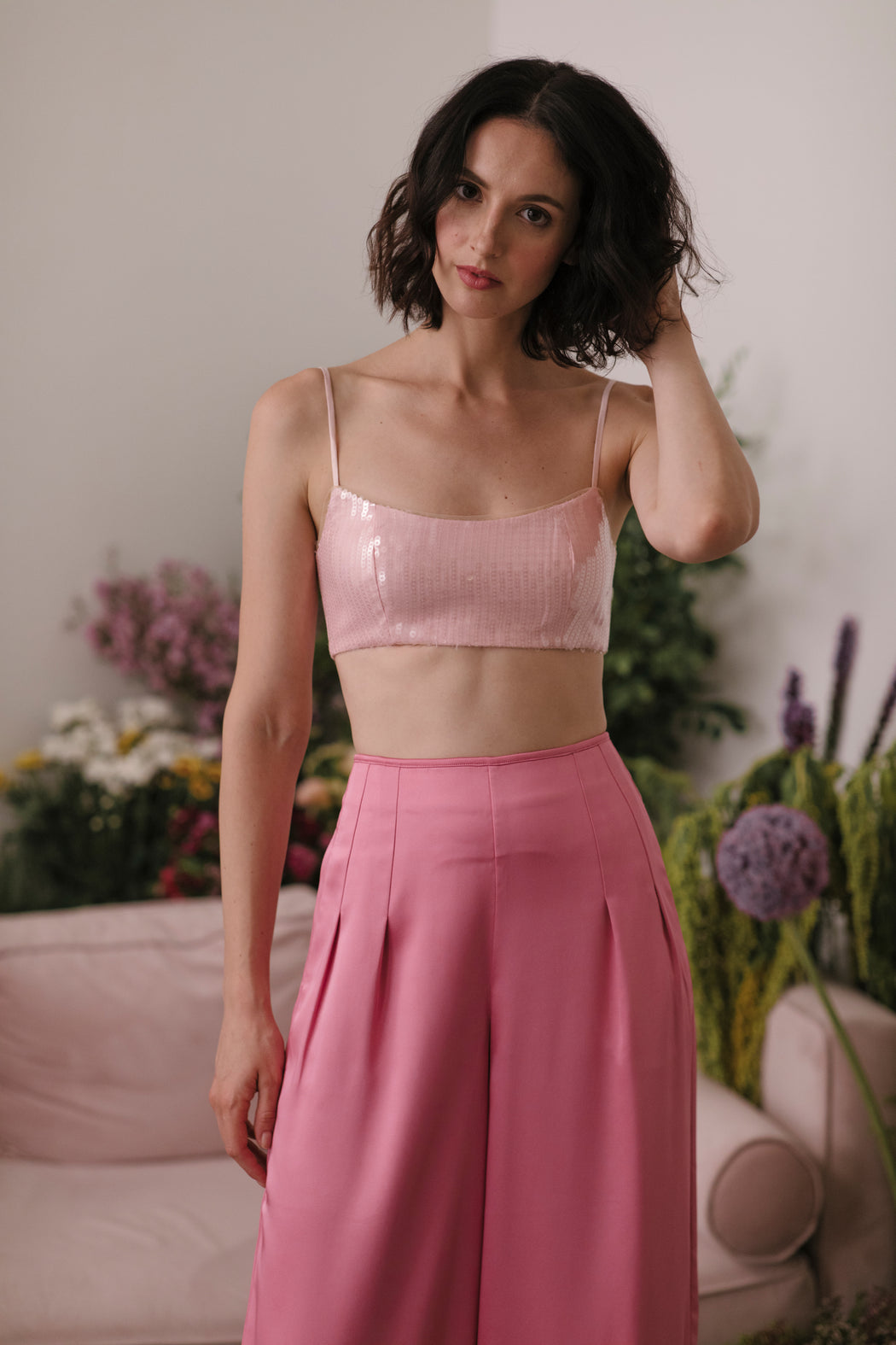 Grace Sequin Crop Top (Pink)
