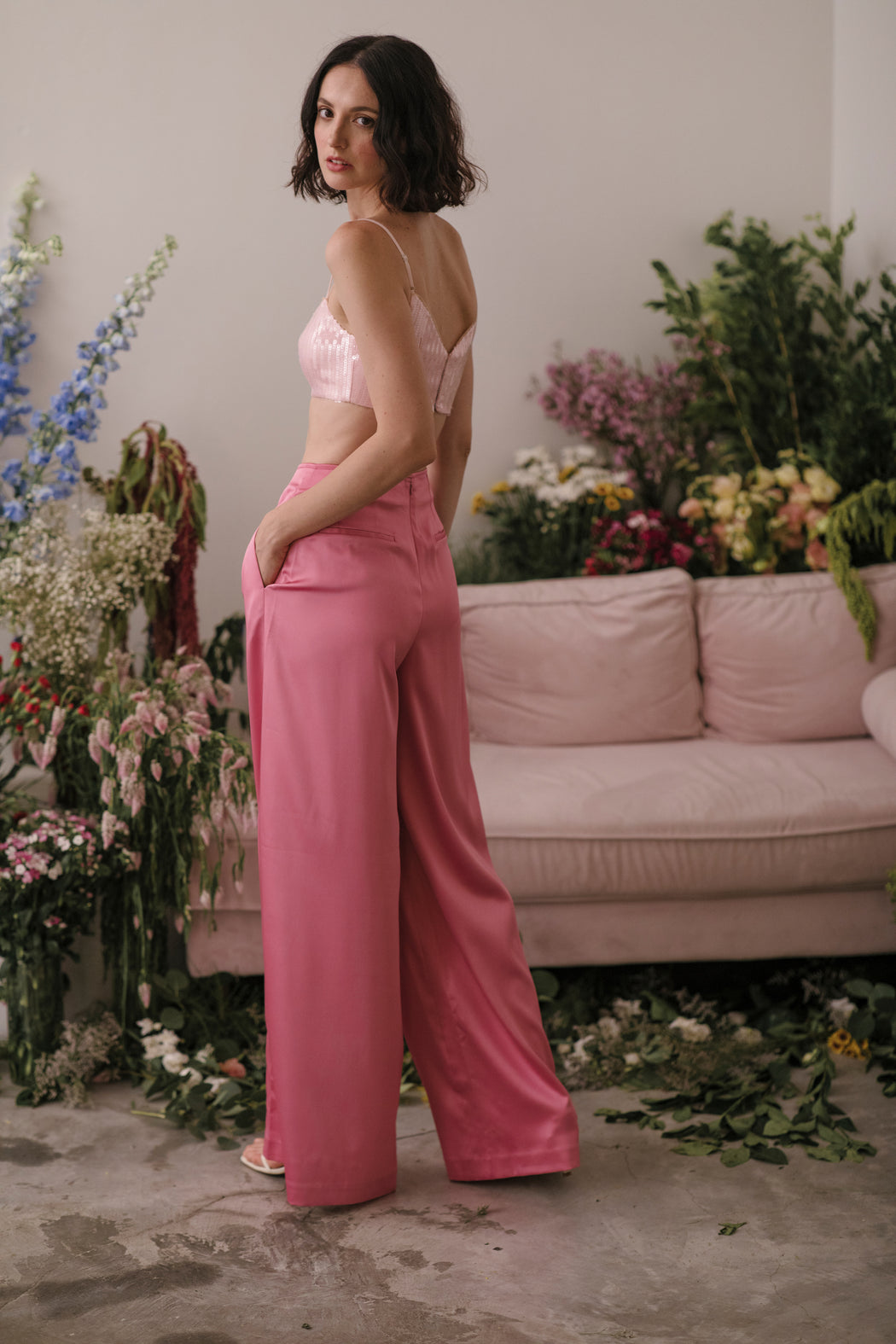 Elsie Satin Pants (Pink)