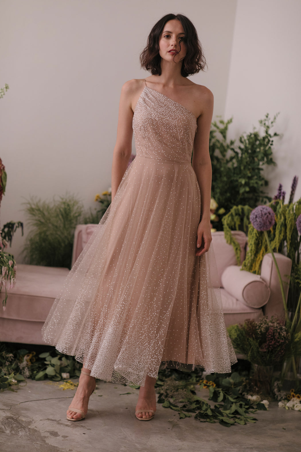 Blanche Ombre Tulle Midi Dress