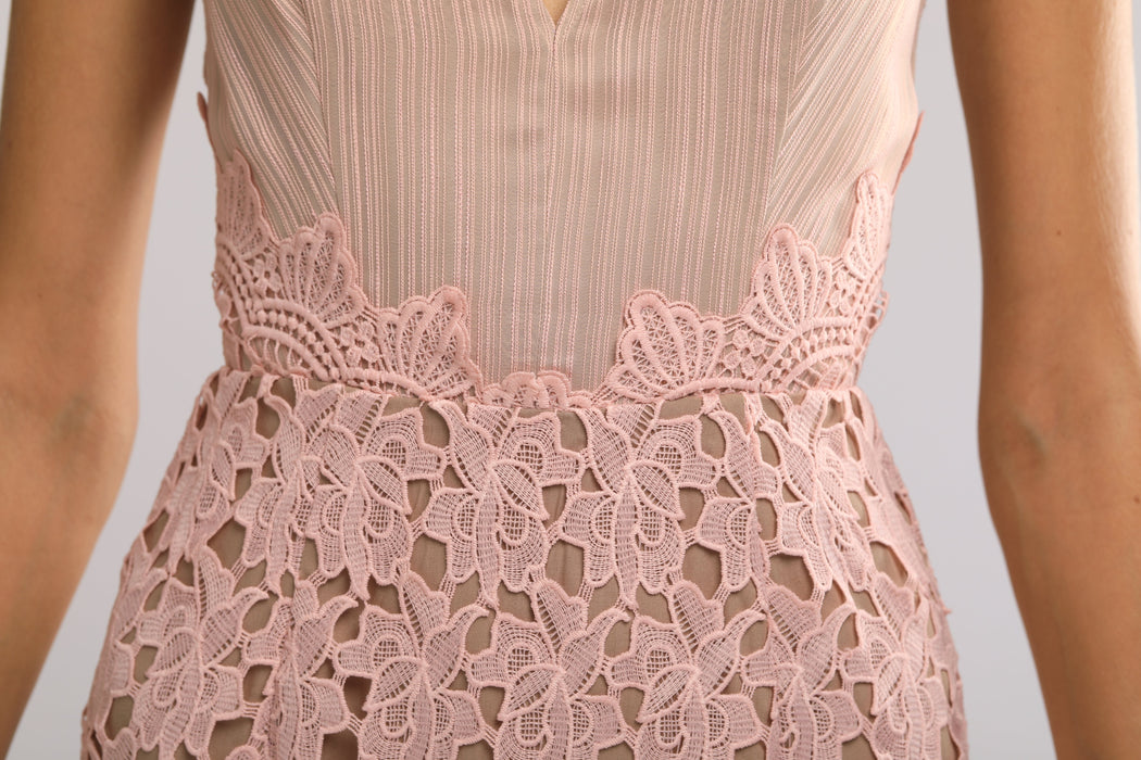 Jessie Guipure Lace Pencil Dress (Pink) - SAU LEE