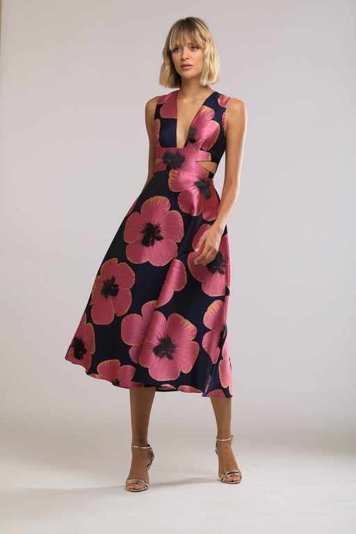 Serena Bold Floral Print Jacquard Dress - SAU LEE