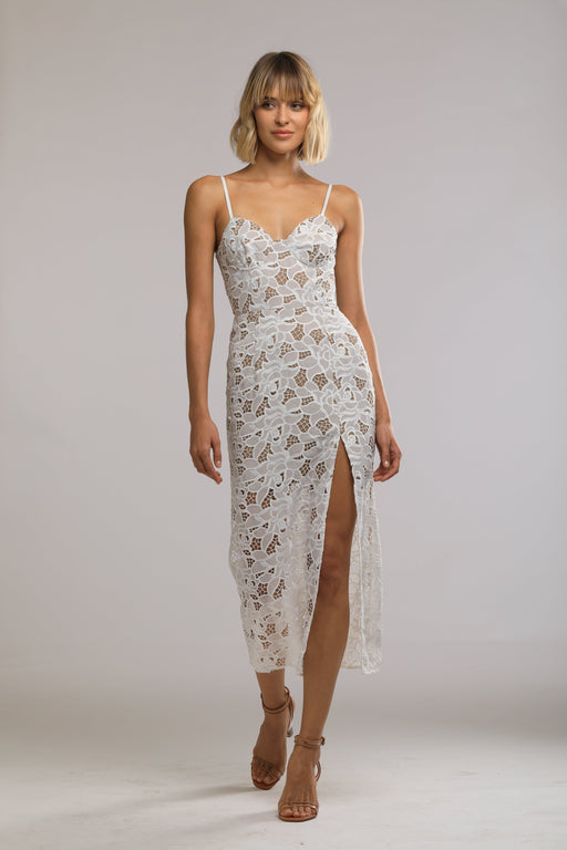 Celina Chiffon Lace Bustier Dress (White)
