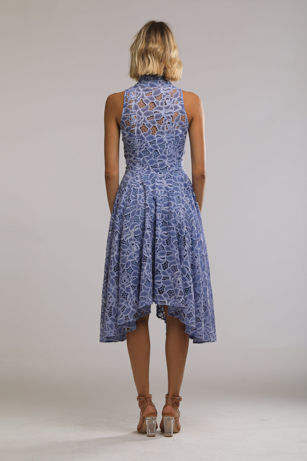 Lynn Chiffon Lace Mandarin Collar Dress (Cornflower Blue) - SAU LEE