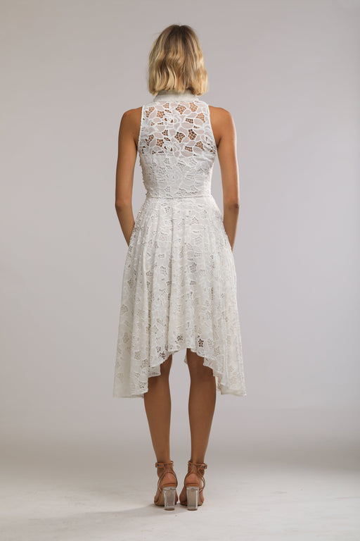 Lynn Chiffon Lace Mandarin Collar Dress (White) - SAU LEE