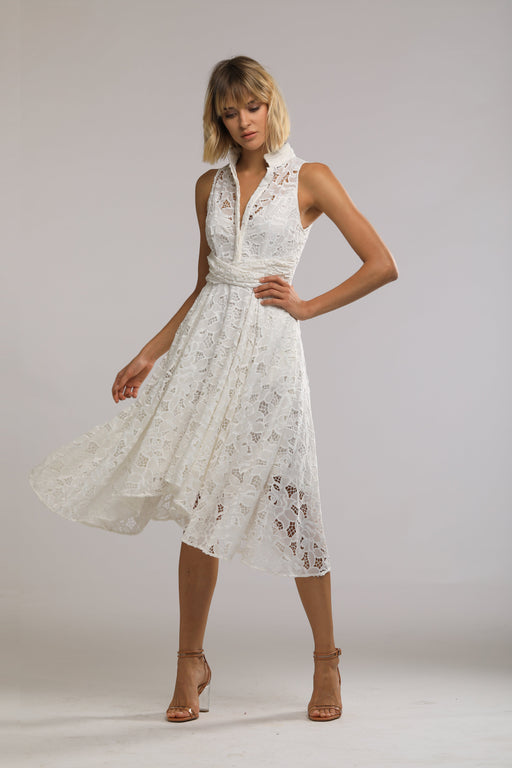 Lynn Chiffon Lace Mandarin Collar Dress (White)