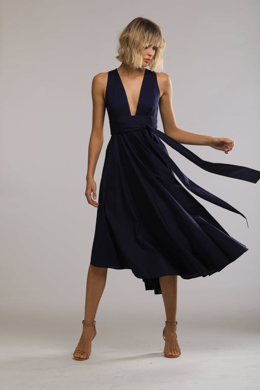 Faye Cotton Open Back Dress (Navy) - SAU LEE