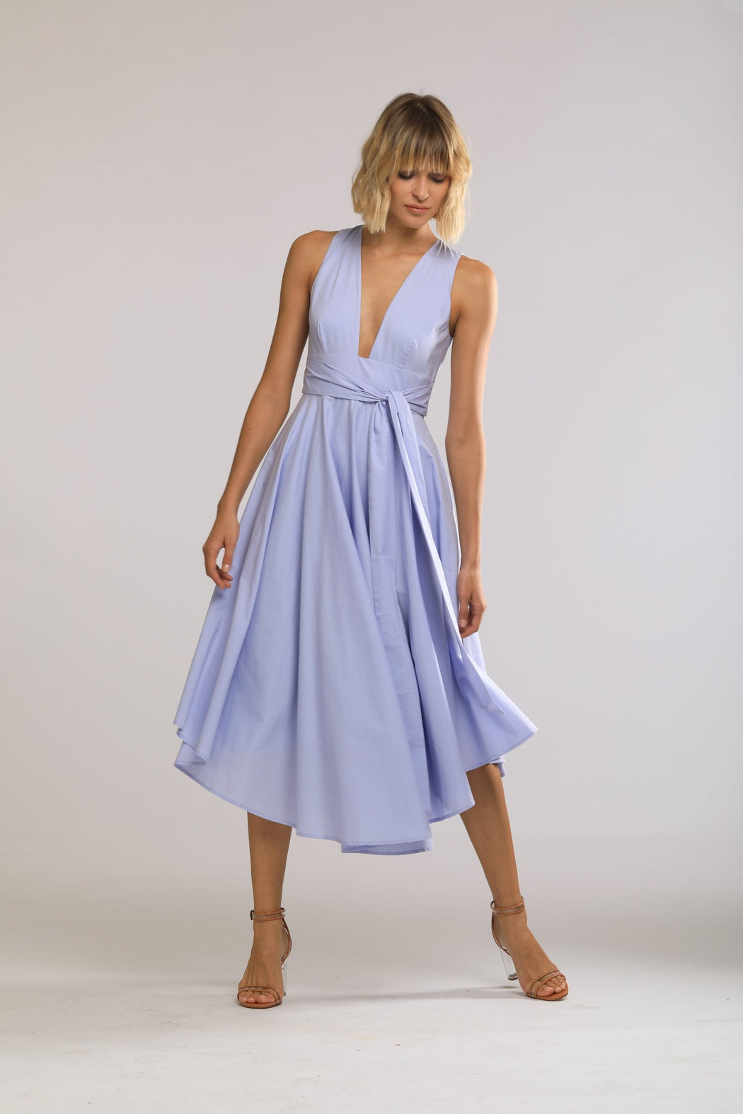 Faye Cotton Open Back Dress (Periwinkle) - SAU LEE