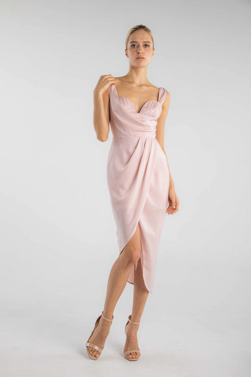 Charee Draped Matte Satin Dress