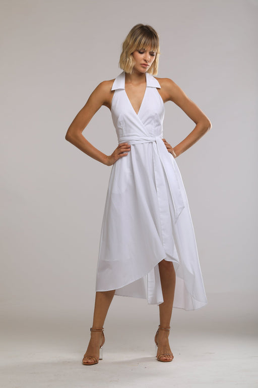 Iris Cotton Wrap Dress (White) - SAU LEE