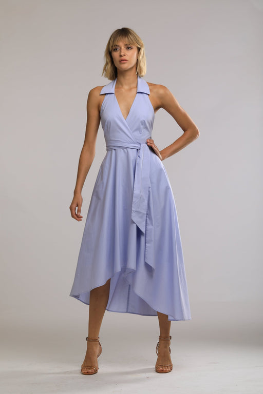 Iris Cotton Wrap Dress (Periwinkle Blue) - SAU LEE