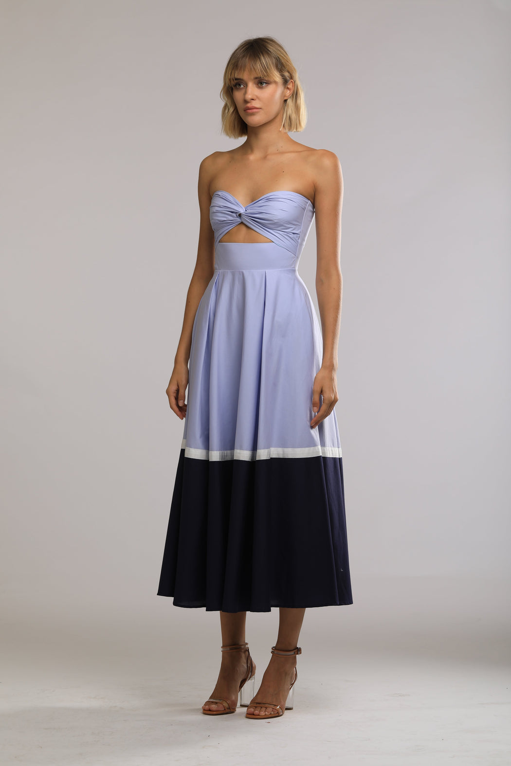 Poppy Cotton Color Block Dress (Periwinkle/Navy) - SAU LEE