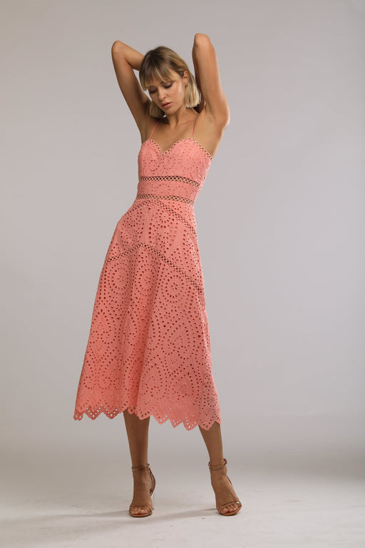 Brienne Embroidered Cotton Sweetheart Dress (Pink) - SAU LEE