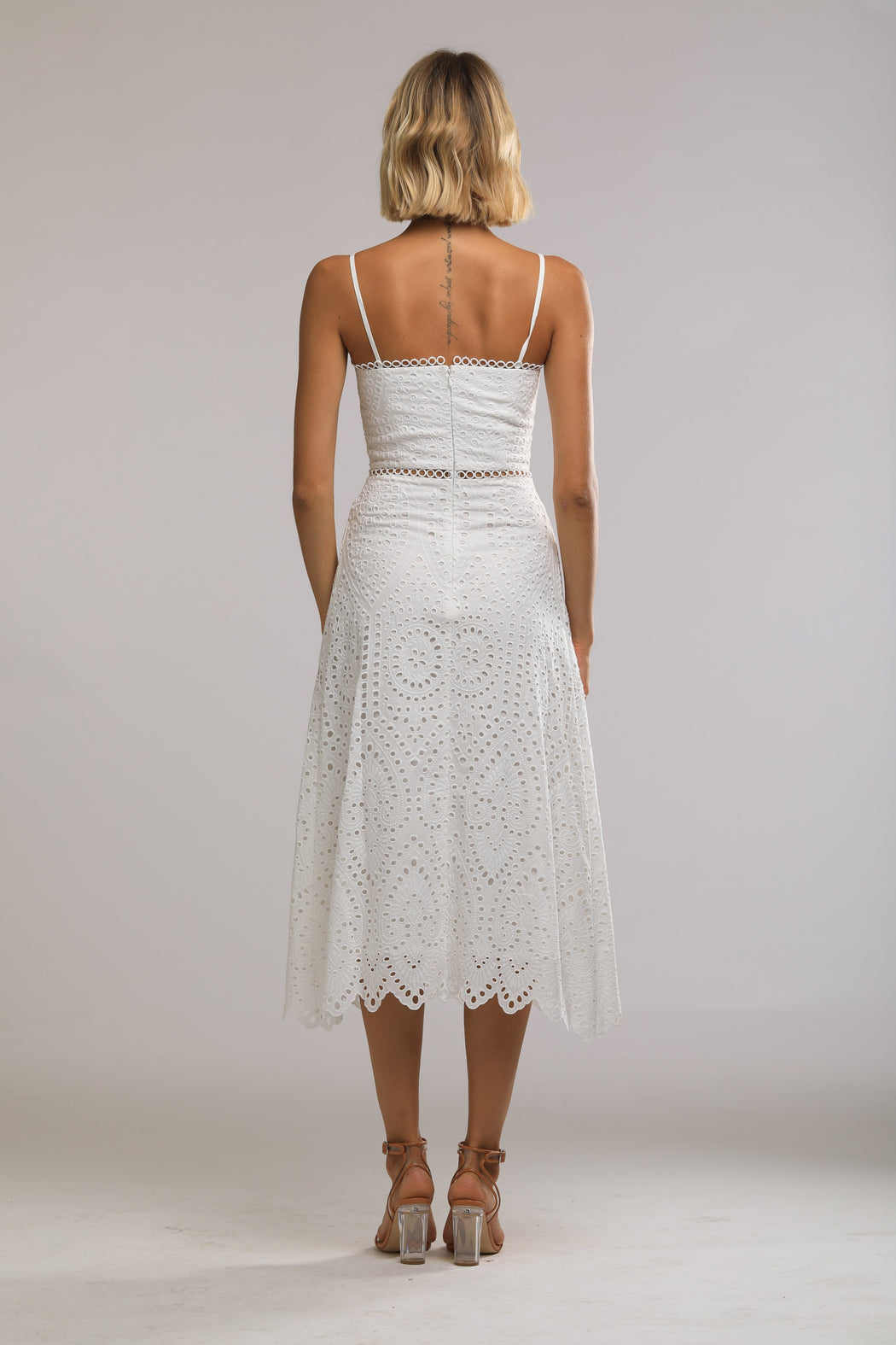 Brienne Embroidered Cotton Sweetheart Dress (White) - SAU LEE