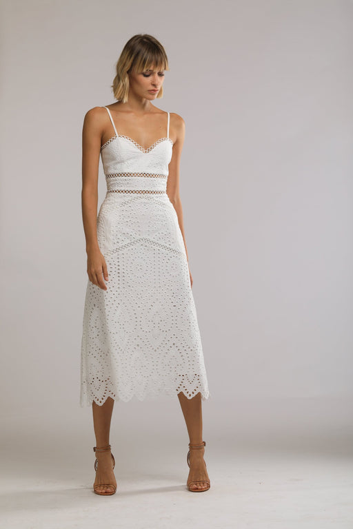 Brienne Embroidered Cotton Sweetheart Dress (White)
