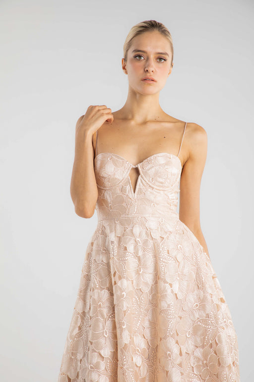 Aimée Floral Laser-cut Organza Dress - SAU LEE