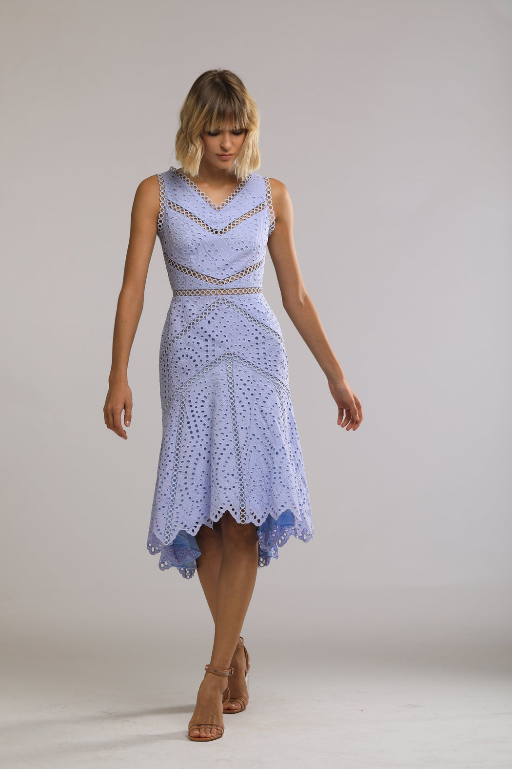 Peyton Embroidered Cotton Fit and Flare Dress (Periwinkle Blue) - SAU LEE
