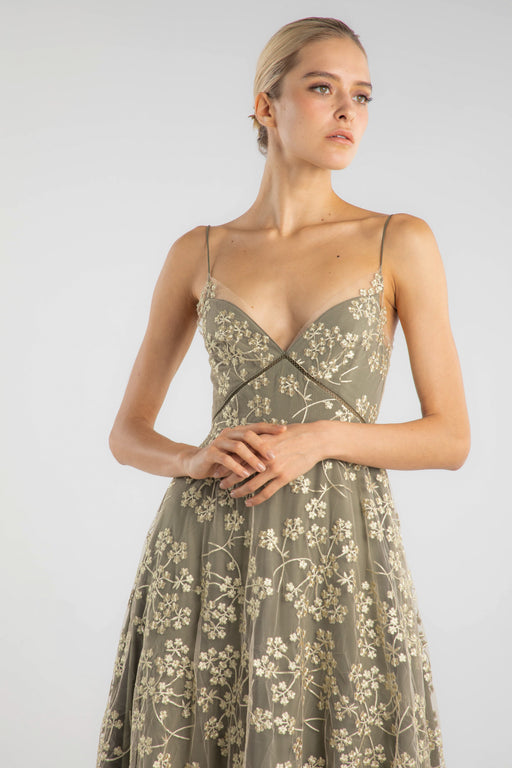 Riva Floral Embroidery Midi Dress