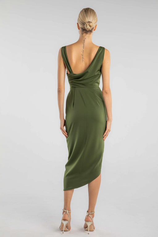 Charee Draped Matte Satin Dress (Olive)