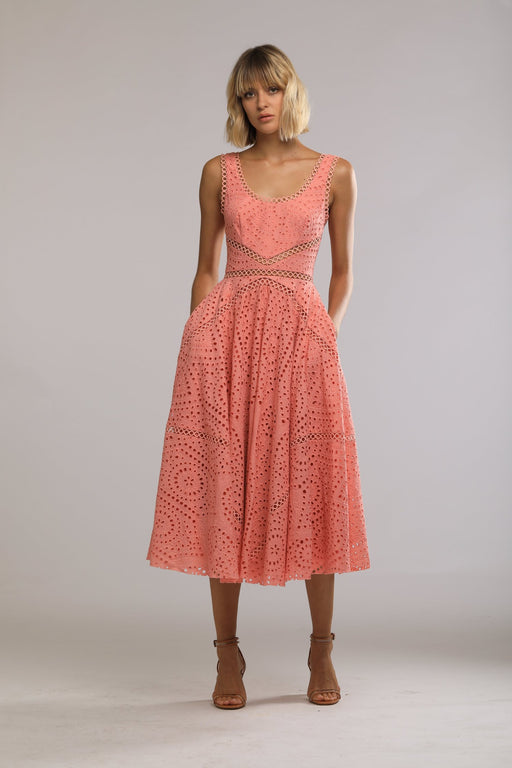 Maya Embroidered Cotton Scoop Back Dress (Pink) - SAU LEE