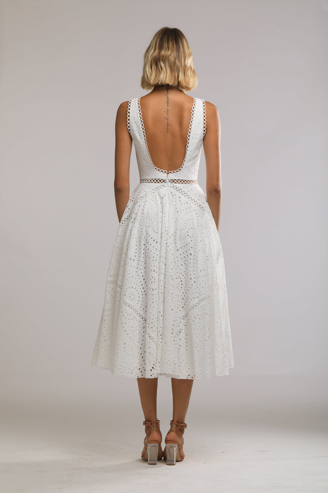 Maya Embroidered Cotton Scoop Back Dress (White) - SAU LEE